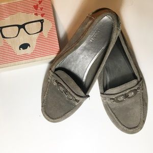 Coach Forunata gray suede driving loafers